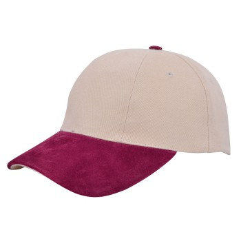 Turned brushed suede cap